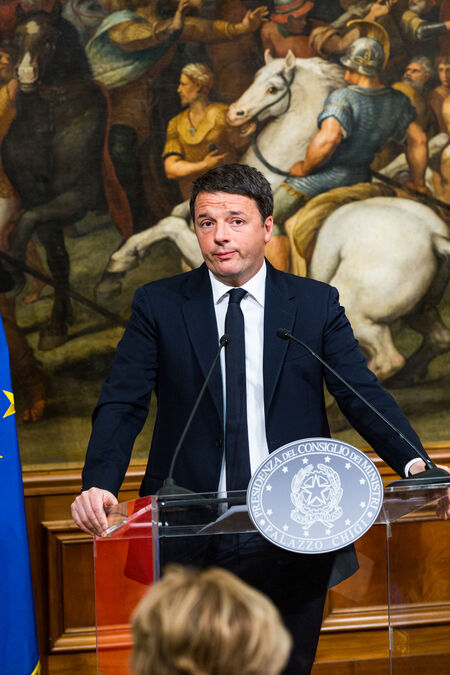 Prime Minister Matteo Renzi, Press Conference following the Constitutional referendum results, 4 December 2016, Palazzo Chigi, Rome
