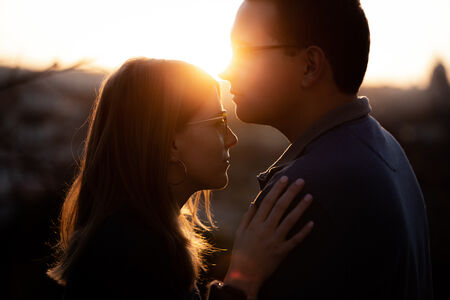Choe & Jake's proposal at sunset at the Pincio Gardens, Rome