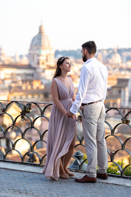 Beautiful couple during their honeymoon photo session in Rome