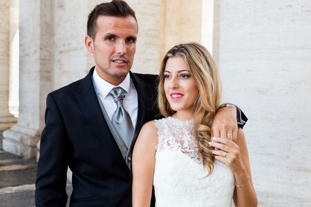 Vanesa & Alberto, during their Sposi Novelli Photo session in Saint Peter's Square